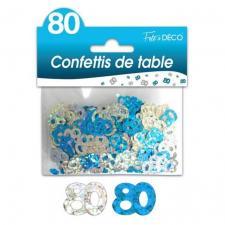 Confettis anniversaire bleu et argent 80ans (x10grs) REF/CTH13B