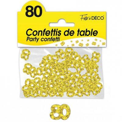 Confettis de table anniversaire 80ans or 10grs (x1) REF/CA08OR