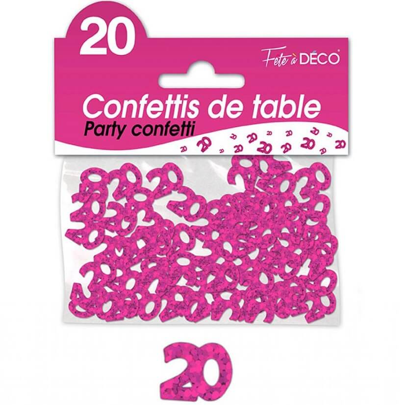 Confettis de table anniversaire fuchsia 20 ans