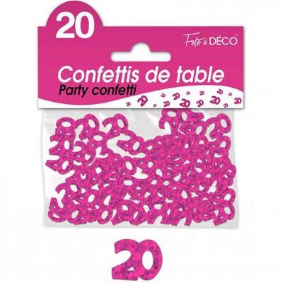 Confettis de table anniversaire 20ans fuchsia 10grs (x1) REF/CA02F