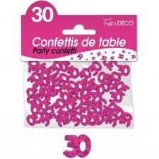 Confettis de table anniversaire 30ans fuchsia 10grs (x1) REF/CA03F