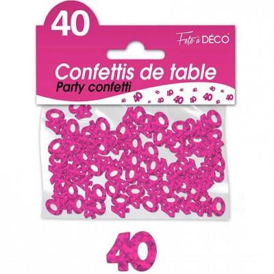 Confettis de table anniversaire 40ans fuchsia 10grs (x1) REF/CA04F