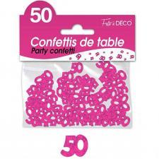 Confettis de table anniversaire 50ans fuchsia 10grs (x1) REF/CA05F