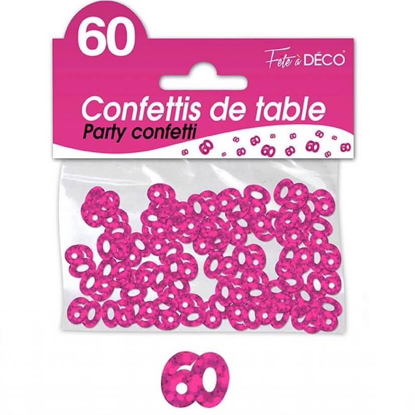 Confettis de table anniversaire fuchsia 60 ans