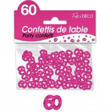 Confettis de table anniversaire 60ans fuchsia 10grs (x1) REF/CA06F