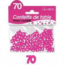 Confettis de table anniversaire fuchsia 70 ans