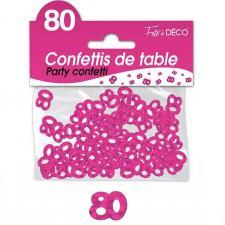 Confettis de table anniversaire fuchsia 80 ans