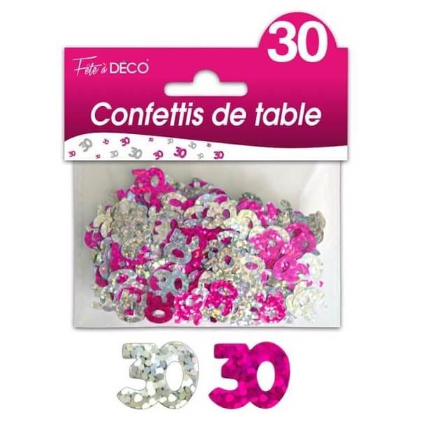 Confettis de table anniversaire fuchsia et argent 30ans