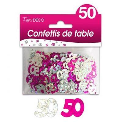 Confettis anniversaire fuchsia et argent 50ans (x10grs) REF/CTH06R