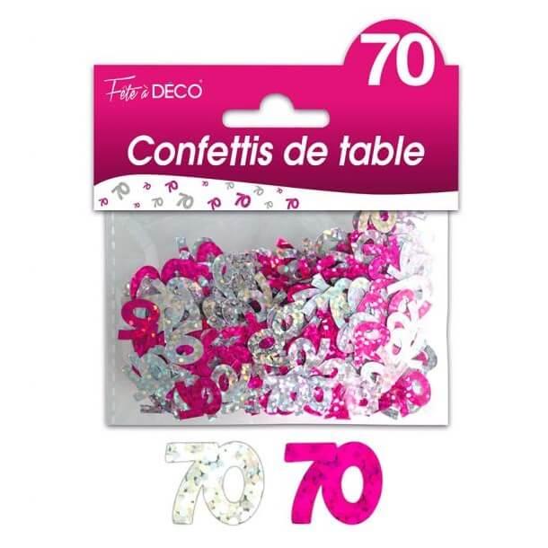 Confettis de table anniversaire fuchsia et argent 70ans