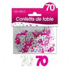 Confettis anniversaire fuchsia et argent 70ans (x10grs) REF/CTH08R