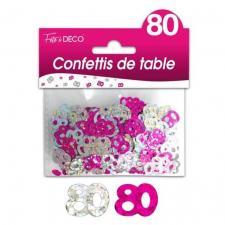 Confettis anniversaire fuchsia et argent 80ans (x10grs) REF/CTH13R