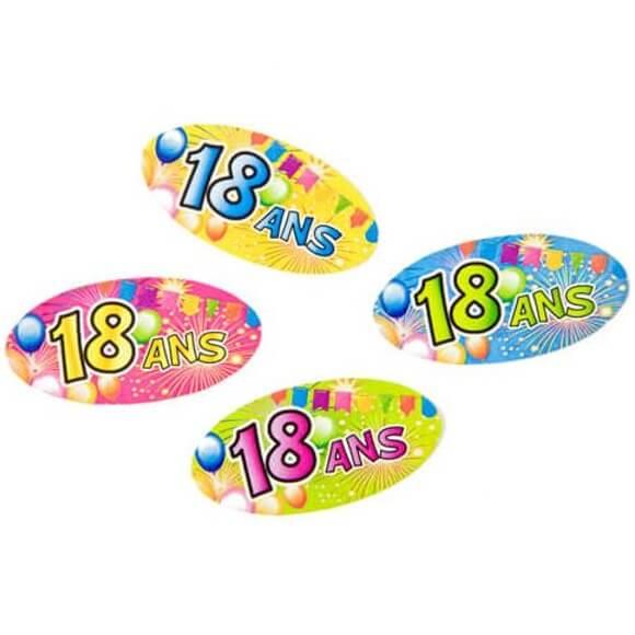 Confettis de table anniversaire multicolore 18ans