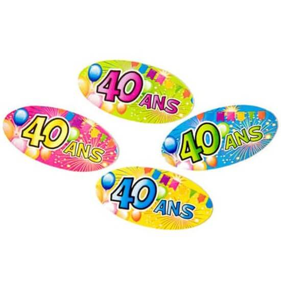 Confettis de table anniversaire multicolore 40ans