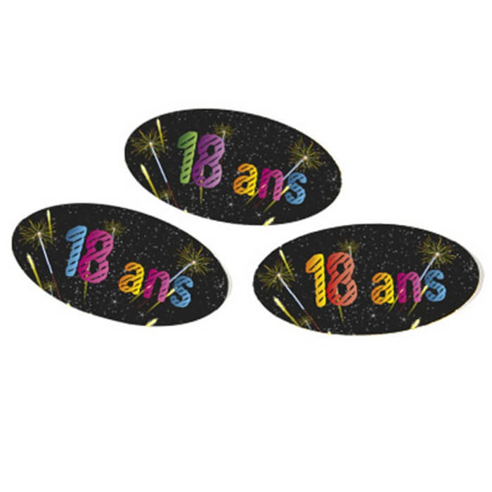 Confettis de table anniversaire noir 18ans