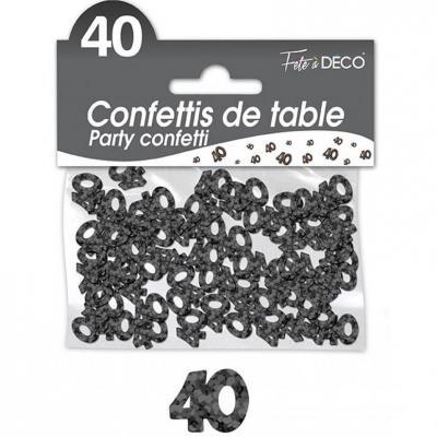 Confettis de table anniversaire 40ans noir 10grs (x1) REF/CA04N