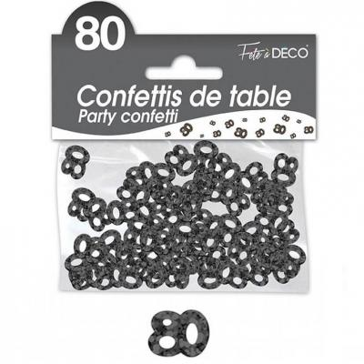 Confettis de table anniversaire 80ans noir 10grs (x1) REF/CA08N