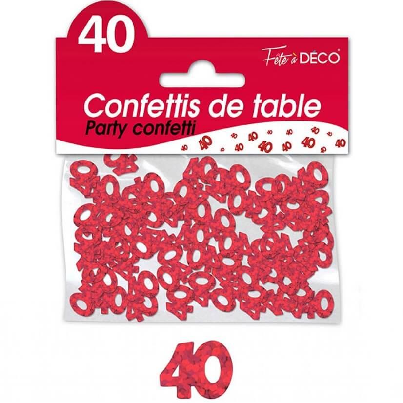 Confettis de table anniversaire rouge 40 ans