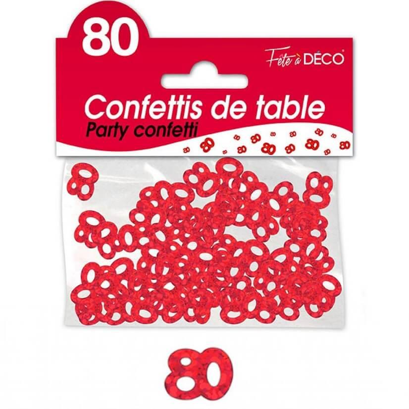 Confettis de table anniversaire rouge 80 ans