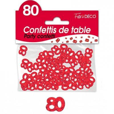 Confettis de table anniversaire 80ans rouge 10grs (x1) REF/CA08R