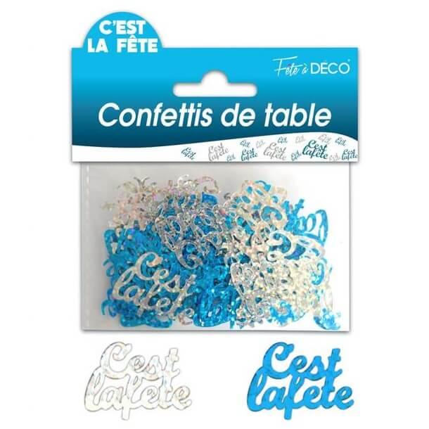 Confettis de table c est la fete bleu et argent