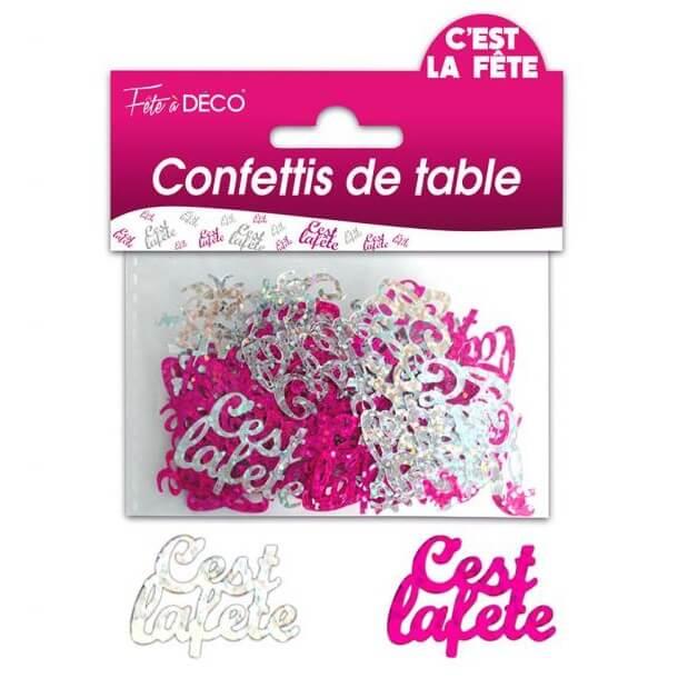 Confettis de table c est la fete fuchsia et argent