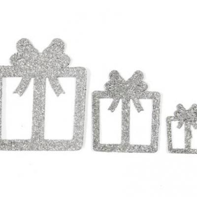 Confettis de table cadeaux de noël argent (x6) REF/DEC725