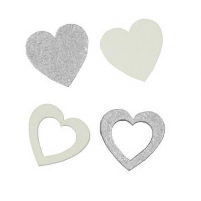 Confettis de table en bois mariage coeur argent (x12) REF/DEK0073