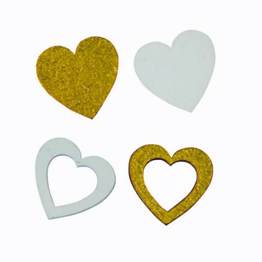 Confettis de table coeur mariage or et blanc