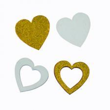 Confettis de table en bois mariage coeur or (x12) REF/DEK0073