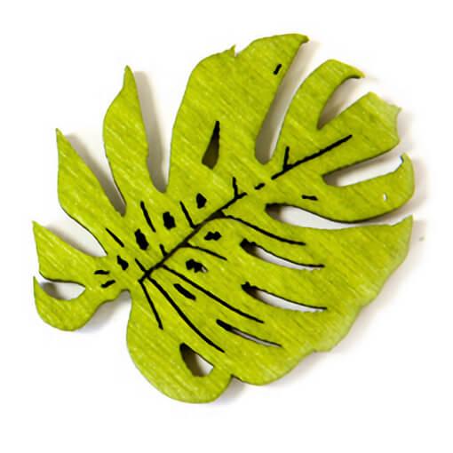 Confettis de table en bois philodendron vert