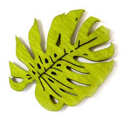 Confettis de table Philodendron en bois vert (x10) REF/DEK0062
