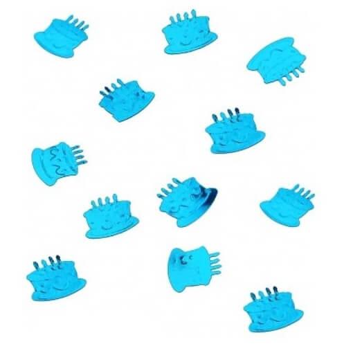 Confettis de table gateau anniversaire bleu turquoise metallique