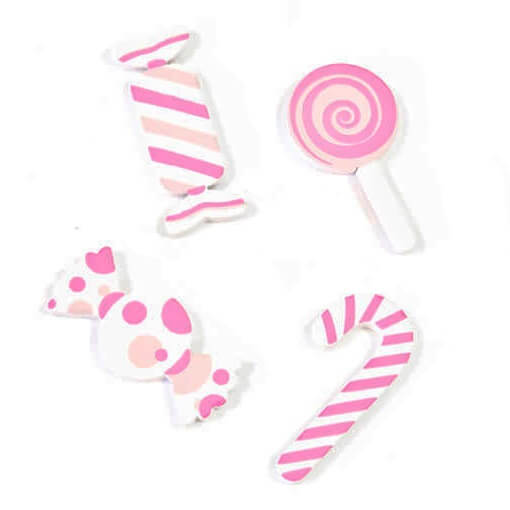 Confettis de table gourmandise bonbon rose en bois