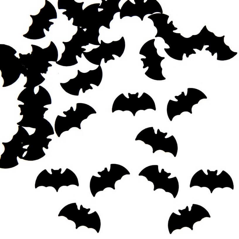 Confettis de table halloween chauve souris noir