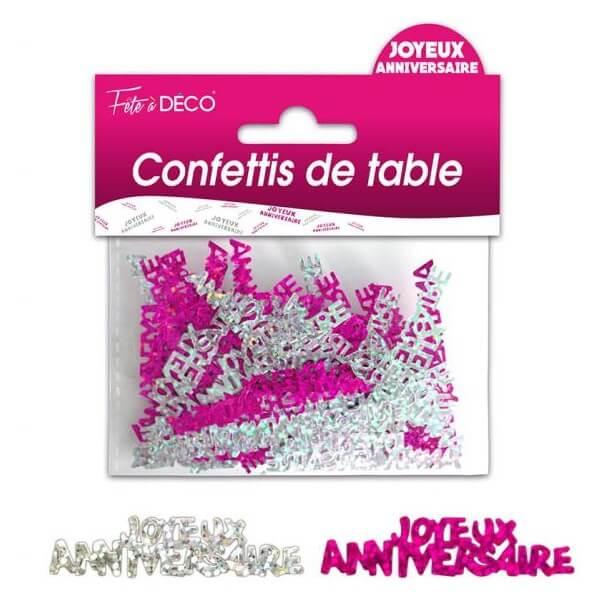 Confettis de table joyeux anniversaire argent et fuchsia