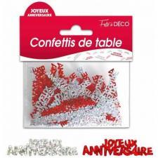 Confettis anniversaire rouge et argent (x10grs) REF/CTH01RP