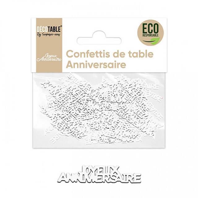 Confettis de table joyeux anniversaire blanc papier