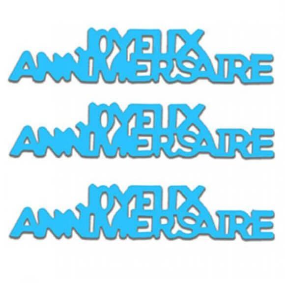 Confettis de table joyeux anniversaire bleu en papier