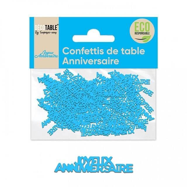 Confettis de table joyeux anniversaire bleu papier