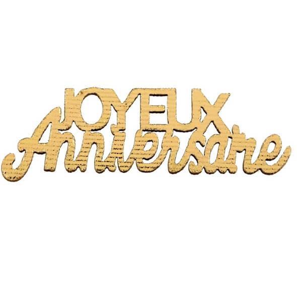 Confettis de table joyeux anniversaire dore metallise en bois