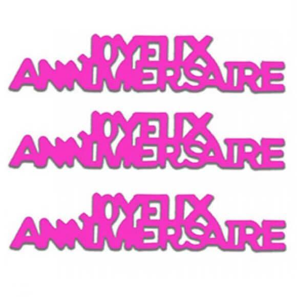 Confettis de table joyeux anniversaire rose fuchsia en papier