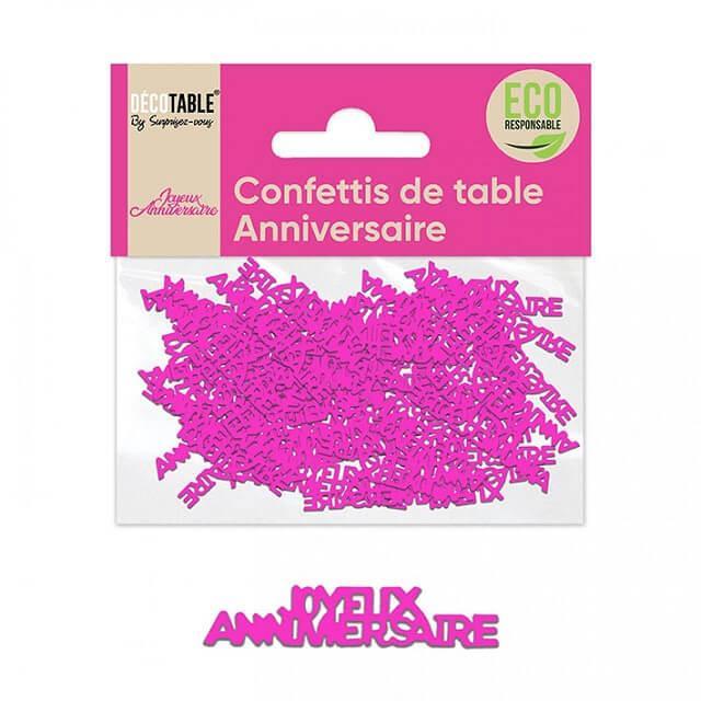 Confettis de table joyeux anniversaire rose fuchsia papier
