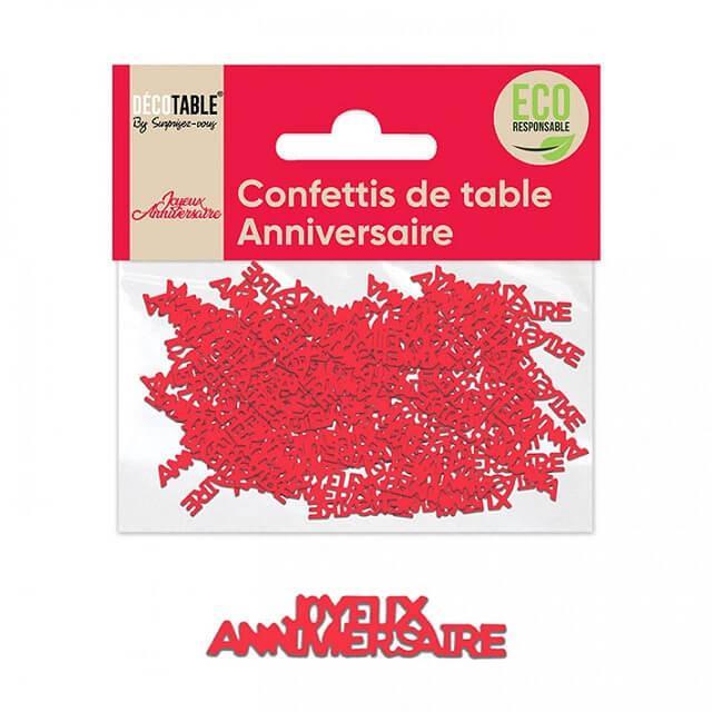 Confettis de table joyeux anniversaire rouge en papier