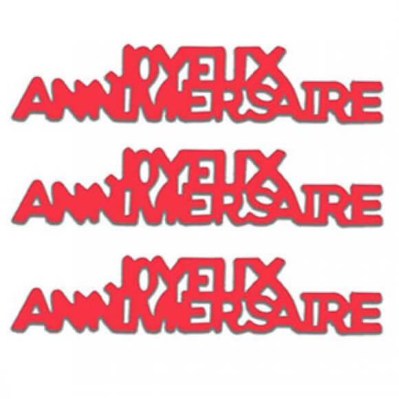 Confettis de table joyeux anniversaire rouge papier