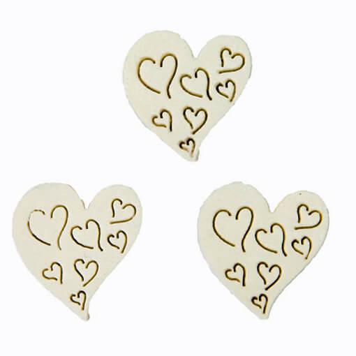 Confettis de table mariage coeur blanc en bois