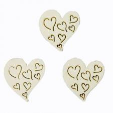 Confettis de table mariage coeur blanc en bois (x20) REF/DEK0048