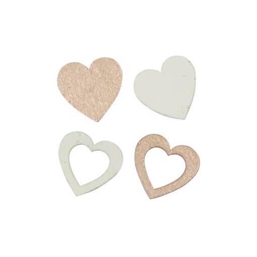 Confettis de table mariage coeur en bois rose gold et blanc
