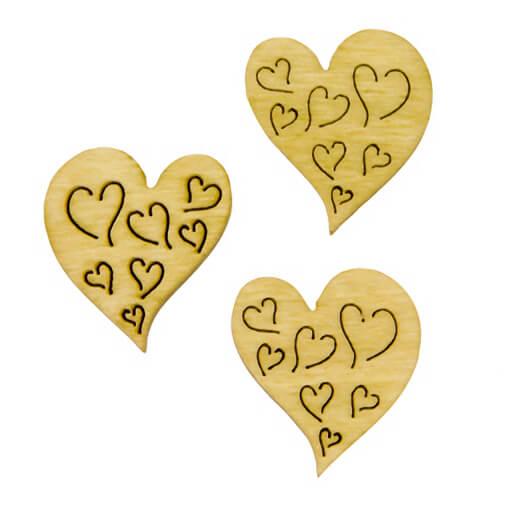 Confettis de table mariage coeur naturel en bois