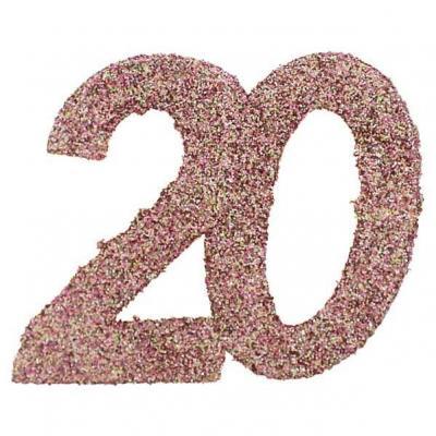 Confettis de table anniversaire 20 ans rose gold pailleté (x6) REF/7306